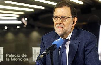 """El presidente del Gobierno en funciones, Mariano Rajoy, en el transcurso de la entrevista concedida al programa """"Herrera en COPE"""" de la cadena COPE."""