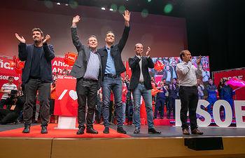 Acto de precampaña del PSOE en Guadalajara, con la presencia de Pedro Sánchez y Emiliano García-Page.