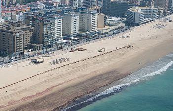 regeneración de Sta. María del Mar (Cádiz) durante la ejecución de los trabajos. Foto: Ministerio de Agricultura, Alimentación y Medio Ambiente