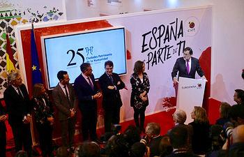 El presidente del Gobierno, Mariano Rajoy, durante su intervención en la visita a la Feria Internacional de Turismo (FITUR) en el recinto Ferial de IFEMA.