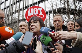 PSOE en la concentración convocada por UGT y CCOO sobre las pensiones.