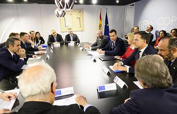 El presidente del Gobierno en funciones, Pedro Sánchez, se reune con los jefes de Estado y de Gobierno de la Unión Europea y los presidentes de las instituciones europeas, en la Cumbre del Clima de la ONU (COP25). Foto: fotobpb