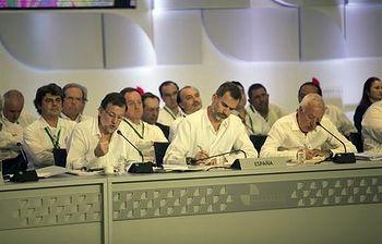 Rajoy interviene en la segunda sesión plenaria de la Cumbre Iberoamericana (Foto: Pool Moncloa)