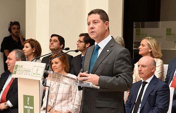 Emiliano García-Page durante su intervención en el acto institucional del Día de Castilla-La Mancha