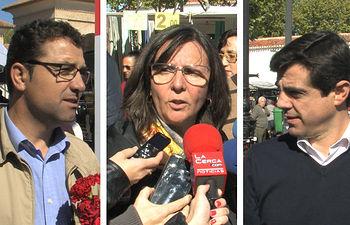 De izq. a dcha.: Modento Belinchón, candidato del PSOE a la alcaldía de Albacete, Victoria Delicado, candidata de Ganemos a la alcaldía de Albacete, y Javier Cuanca, candidato del PP a la alcaldía de Albacete.