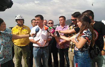 El consejero de Agricultura, Medio Ambiente y Desarrollo Rural atiende a los medios en Yeste (Albacete)