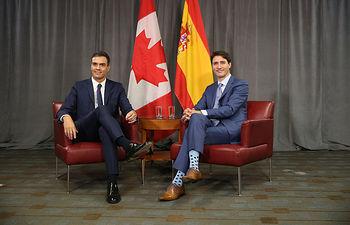 El presidente del Gobierno, Pedro Sánchez y el primer ministro de Canadá, Justin Trudeau, durante su encuentro en Montreal.
