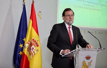 El presidente del Gobierno, Mariano Rajoy, interviene durante la inauguración del Polígono de Experiencias de las Fuerzas Especiales de la Guardia Civil,en Logroño.