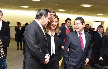 Emiliano García-Page y Susana Díaz durante el desayuno informativo celebrado en Toledo