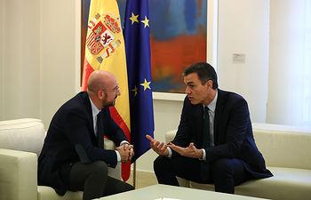 El presidente del Gobierno en funciones, Pedro Sánchez, junto al presidente electo del Consejo Europeo, Charles Michel. Foto: fervero-67