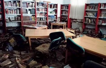 Biblioteca Pública Municipal tras la riada de Cebolla.