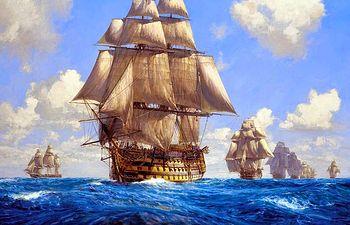 Barcos - Navíos de línea antiguos. Imagen de archivo.