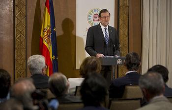 El presidente del Gobierno, Mariano Rajoy, durante la rueda de prensa que ofreció al término de la Cumbre sobre el Cambio Climático. Pool Moncloa/Diego Crespo