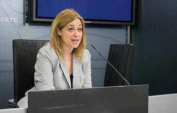 Carmen Picazo, portavoz del Grupo Municipal Ciudadanos en el Ayuntamiento de Albacete, durante la presentación del acuerdo de presupuestos