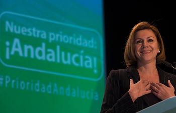 La Secretaria General del Partido Popular, Mª Dolores de Cospedal, en un momento de la intervención