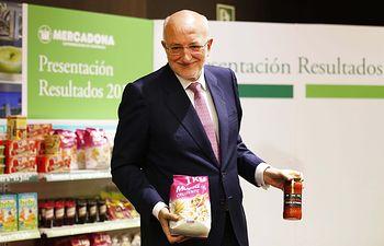 El presidente de Mercadona, Juan Roig, durante la presentación de los resultados 2015.