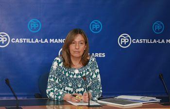 Guarinos durante la rueda de prensa en las Cortes de CLM