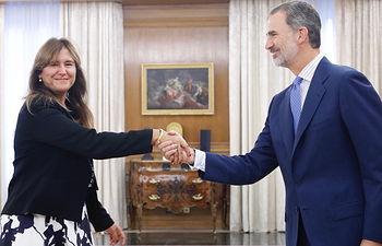 Su Majestad el Rey recibe el saludo de la representante de Junts (Junts per Catalunya-Junts), Laura Borrás Castanyer  Palacio de La Zarzuela. Madrid, 17.09.2019. Foto: Casa de S.M. el Rey