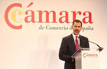 Su Majestad el Rey, durante sus palabras en el acto de presentación de la Cámara de Comercio de España.