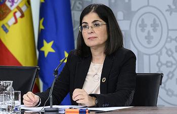 La ministra de Política Territorial y Función Pública, Carolina Darias, durante su intervención en la rueda de prensa posterior al Consejo de Ministros.