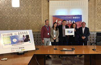 Presentación del cupón de la ONCE del jueves 21 de febrero de 2019, que está dedicado al Día Internacional del Guía de Turismo.