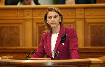 Presidenta Cospedal en el Pleno de las Cortes. Foto: JCCM.