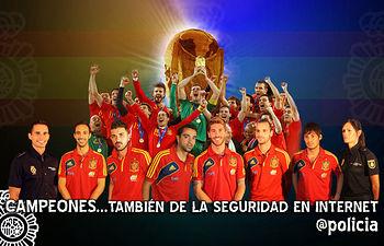 La Policía Nacional lanza una campaña con los campeones de la selección española por la seguridad en Internet. Foto: Ministerio del Interior