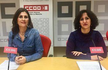 Nuria Garrido, secretaria de Acción Sindical y Salud Laboral de CCOO-Toledo, junto a Mayte García Cabaña, responsable de Organización.