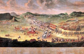 Copia del cuadro de la Batalla de Almansa realizada por el artista local Paulino Ruano, el cual preside el Salón de Plenos del consistorio almanseño.