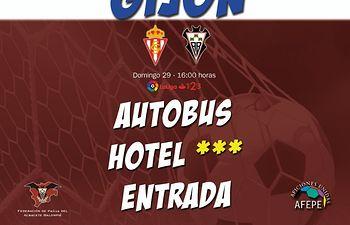 Cartel del viaje a Gijón organizado por la Federación de Peñas del Albacete Balompié para el partido del 29 de abril