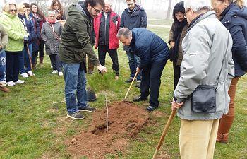 La Asociación Párkinson Albacete planta cinco pinos para sensibilizar sobre la enfermedad de Parkinson
