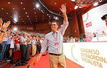 Pedro Sánchez durante la clausura del congreso federal.
