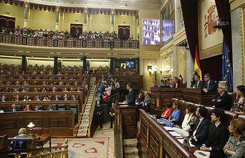 Pedro Sánchez, candidato a la Presidencia del Gobierno, interviene para defender el programa con el que solicita la confianza de la Cámara. Foto: POVEDANO