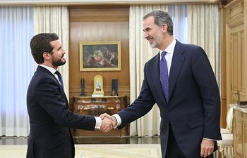 Encuentro del Rey con Pablo Casado, del Partido Popular. Foto: Twitter Casa de S.M. el Rey @CasaReal