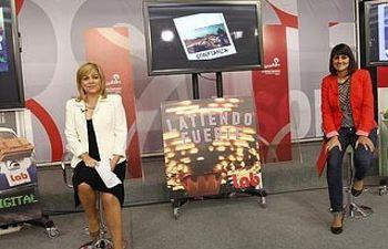 Elena Valenciano y María González esta mañana en Ferraz