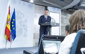 El presidente del Gobierno en funciones, Pedro Sánchez, en un momento de su comparecencia ante los medios de comunicación en La Moncloa.