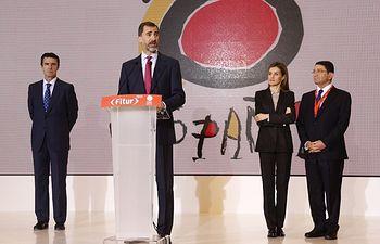 Su Majestad el Rey dirige unas palabras  IFEMA-Feria de Madrid. Parque Ferial Juan Carlos I. Madrid, 28.01.2015