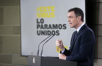 El presidente del Gobierno, Pedro Sánchez, durante la rueda de prensa telemática convocada tras la reunión del Consejo de Ministros. Foto: Pool Moncloa www.lamoncloa.gob.es
