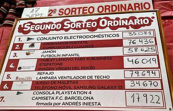 Segundo sorteo ordinario Tómbola de Cáritas -Feria 2017.