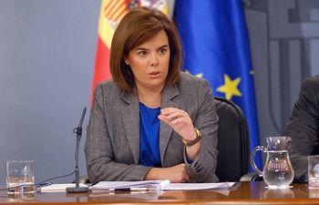 La vicepresidenta del Gobierno, Soraya Sáenz de Santamaría, durante la rueda de prensa celebrada este jueves, 15 de noviembre de 2012.