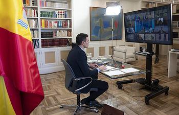 El presidente del Gobierno, Pedro Sánchez, durante su participación en el Consejo Europeo ordinario que se celebra por videoconferencia. Foto: fotobpb