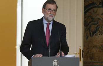 El presidente del Gobierno, Mariano Rajoy, durante la rueda de prensa en La Moncloa en la que ofrece el balance del año 2017.