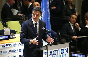 El presidente del Gobierno, Pedro Sánchez, durante su intervención en la Reunión de Alto Nivel Misiones de Paz, celebrada en la sede de Naciones Unidas.