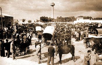 Alrededores de la Fiesta del Árbol donde se ve el mercado de ganado instalado en La Cuerda. Mediados del siglo XX.