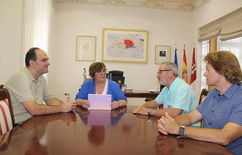 Olmedo con secretarios de UGT y CCOO.