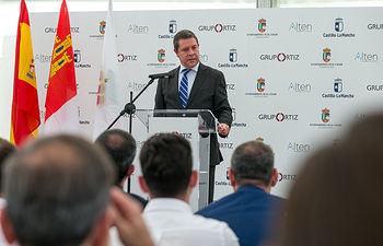 EL CASAR (Guadalajara), 9 de octubre de 2019.- El presidente de Castilla-La Mancha, Emiliano García-Page, asiste a la inauguración de la nueva planta solar fotovoltaica Alten El Casar. (Fotos: A. Pérez Herrera // JCCM).