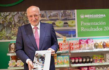 El presidente de Mercadona, Juan Roig, en la rueda de prensa de presentación de los resultados de la compañía valenciana de 2015.