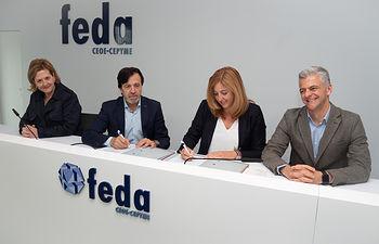 Firma del acuerdo de colaboración entre la Confederación de Empresarios de Albacete, FEDA, y la UCLM