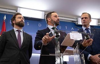 Santiago Abascal, en rueda de prensa.