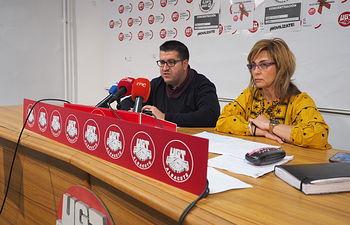 Francisco Javier González (UGT) y Carmen Juste (CCOO)